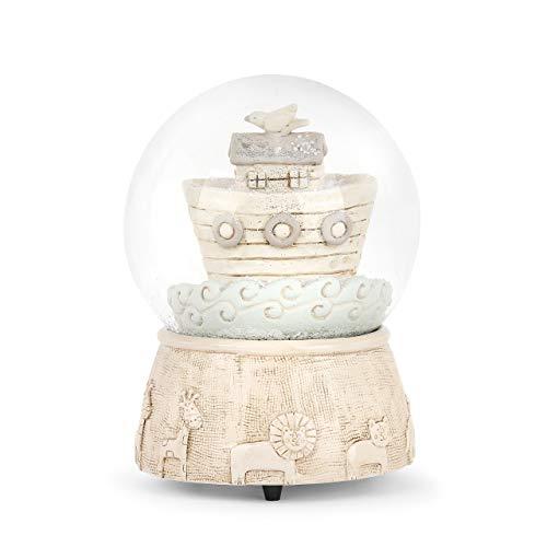DEMDACO Whimsical Noah's Ark Bible Soft Cream 5 x 4 Resin Stone Musical Snow Globe