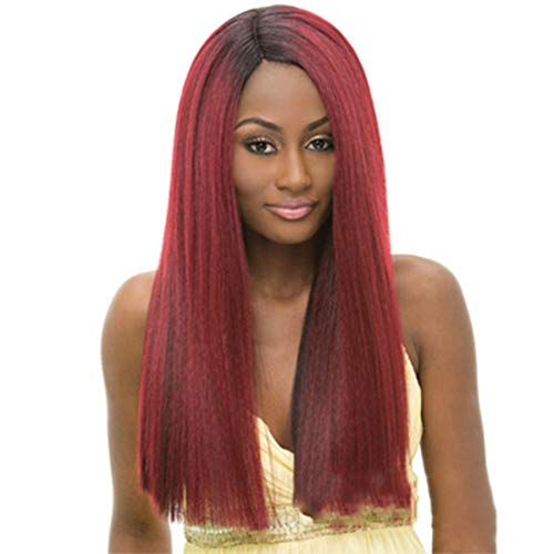 Pelucas de reemplazo de cabello Fashian mujer peluca de pelo largo for la fiesta de disfraces boda mascarada discoteca Atrezzo duradero, reutilizable (Color : Straight hair oblique bangs)