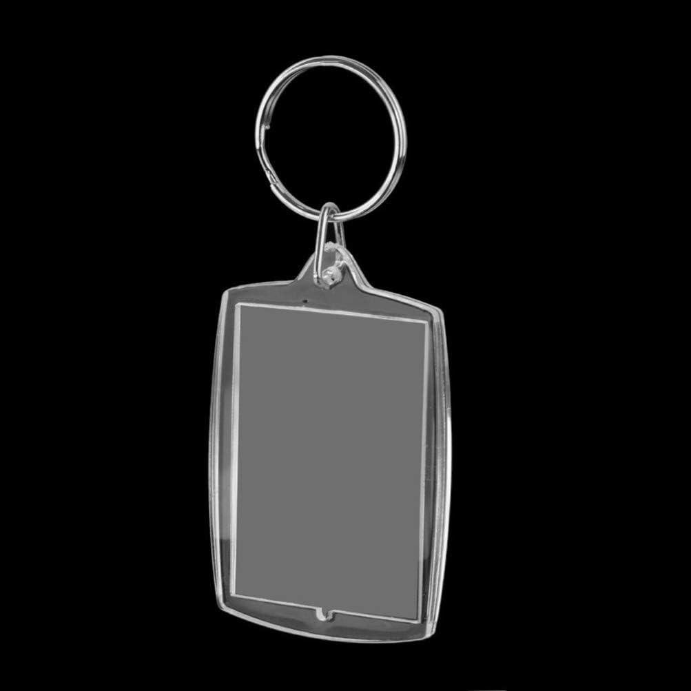 WINOMO 10pcs Acrylic Photo Frame Keyring Photo Snap- in Keychains Photo Insert Keychains with Ring 5 3. 3cm