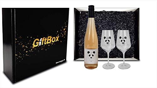 Panda Giftbox Geschenkset - Panda Rosewein Spätburgunder Wein (11,5% Vol) 0,75L + 2x Wein-Glas Gläser 0,1L/0,2L geeicht- [Enthält Sulfite]