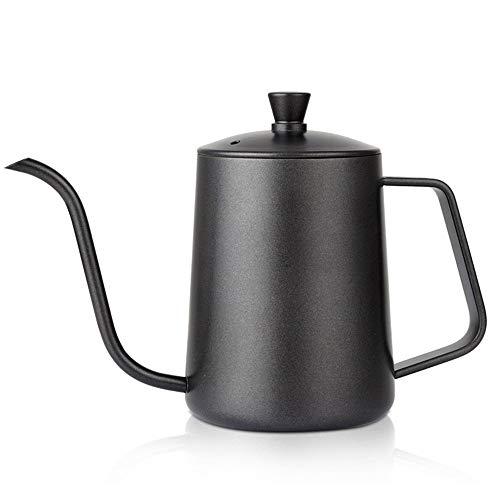 PN-Braes Tetera de cafe 600ML Recubrimiento de teflon Cuello de Cisne de Acero Inoxidable Hervidor de cafe Cano de Goteo Verter sobre hervidor Tetera de cafe Estrecha y Larga para el Servicio de cafe