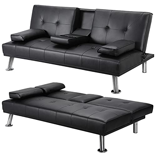 YAHEETECH Sectional Living Room Set Modern Divets Faux Leather Loveseat Reversible Futon Bed Convertible Recliner Folding Sleeper for Limited Space, 2 Cupholders, 772lb Capacity, Black