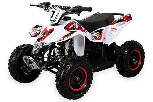 Actionbikes Motors Kinder Miniquad Fox XTR 49 cc - Scheibenbremsen - Luftbereifung - Drosselbar (Weiß/Rot)