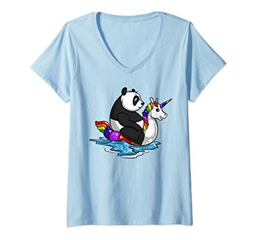 Mujer Oso Panda Unicornios Flotador Divertido Fiesta la Piscina Camiseta Cuello V
