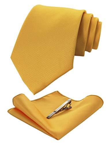 JEMYGINS Seide Krawatte Gelb Krawatten und Einstecktuch mit krawattenklammer Set für Herren Seidenkrawatten Hochzeit Schlips (14)
