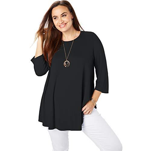 Jessica London Women's Plus Size Swing Tunic - 22/24, Black