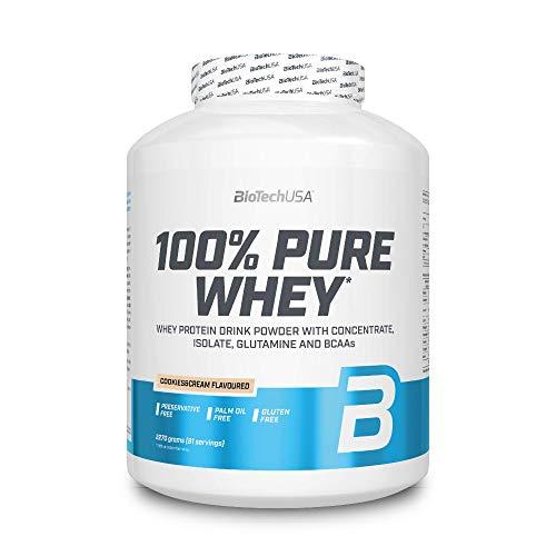 BioTechUSA 100{4e039acd3eae8346dcaa2b0881d3cbd046d72cf020f6b02ec0e8c1e8614e41cf} Pure Whey Premium Protein Isolat Pulver mit zusätzlichen Aminosäuren, glutenfrei, palmölfrei, aspartamfrei, 2270g, Cookies & Cream