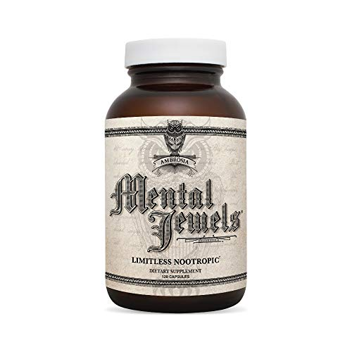 Ambrosia Mental Jewels (Capsules) - Cognitive Enhancer | Increase Memory, Communication Skills, Concentration & Focus | Alpha GPC, Choline, BaCognize | 120 Veggie Capsules (30 Day Supply)