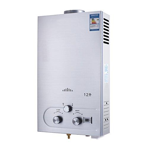 OldFe Scaldabagno A Gas Naturali 12lt Scaldabagno Istantaneo A Gas Con Digitale LCD Scaldabagno Automatico E Rapidamente