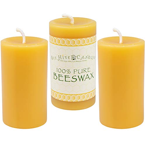 """Bee Hive Candles 100% Pure Beeswax Pillar Candle (2"""" x 3"""" (3-Pack))"""