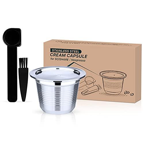 Cápsulas Nespresso reutilizables, cápsulas de café reutilizables de acero inoxidable con cuchara y cepillo compatible con la máquina Nespresso Original Line (uno)