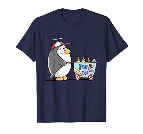 Pinguin mit Eis T Shirt I Eisverkäufer Tiermotiv Sommer Fun