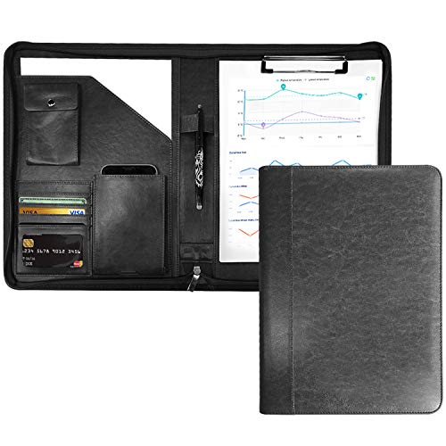 クリップボード 二つ折り バインダー A4 書類契約フォルダー 高級感溢れのビジネスバッグ 事務用品 入職プレゼント ギフト PUレザー クリップファイル ペンホルダー付き 名刺入れ (ブラック)