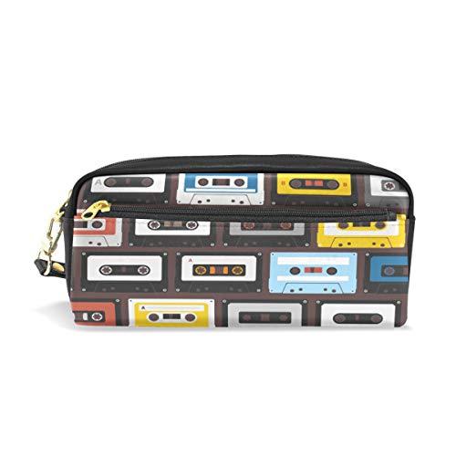 Étui à stylo Stationnaire Vintage sans couture Audio Cassette Motif Crayon Sacs Pochette Portable pour École Enfants Enfants Cosmétique Sac Maquillage Beauté