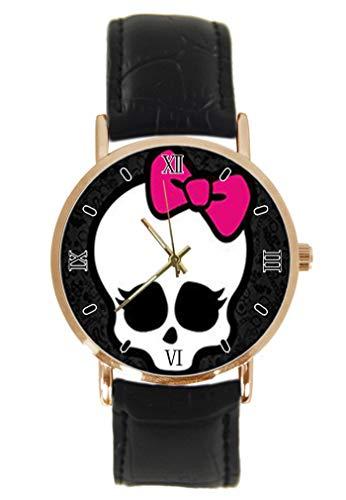 Modische Monster-High Customized Rectangle Wrist Watch Fashion Classic Unisex Analog Quarz Edelstahl Gehäuse Leder Armband Uhren