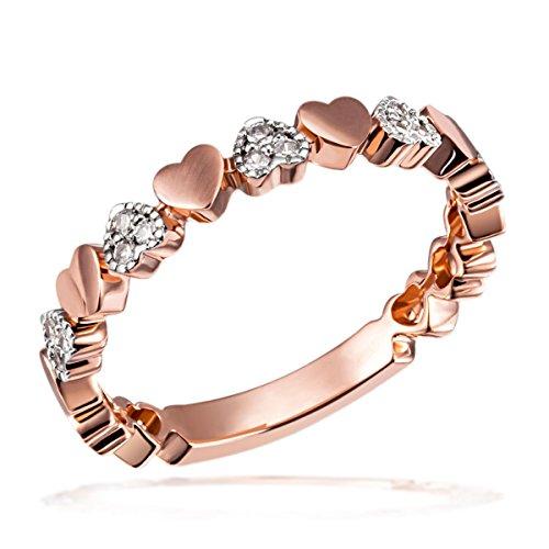 Goldmaid Damen-Ring Herzen 585 Rotgold rhodiniert Diamant (0.11 ct) weiß Brillantschliff - He R7689RG Diamantring Verlobung