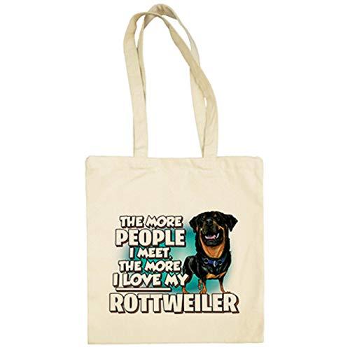 Diver Bebé Bolsa de tela I love my Rottweiler raza perro - Beige, 38 x 42 cm