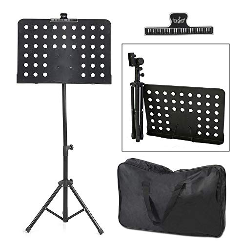 CAMORSA Folding Music Stand for Sheet Music, Portable Music Stand for Guitar Players, Height Adjustable with Music Clip Holder Carrying Bag (Black)