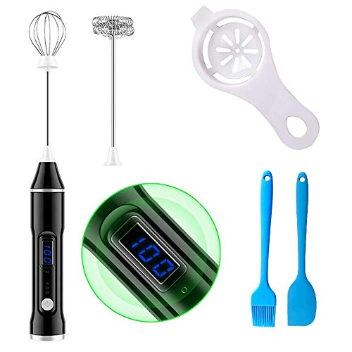 Milk Frother ElectricHandheld Electric Drink MixerMilk Frother Handheld with USB RechargeMaker Stainless Whisk Blender for Coffee Lattes Cappuccino Matcha Milk