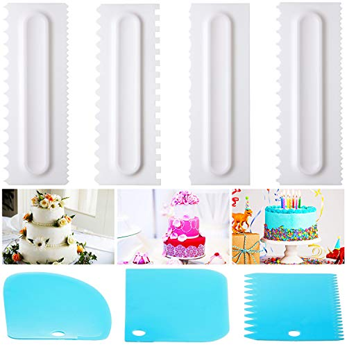 7 Pieces Decorating Comb Icing Smoother Scraper Set Cake Scraper Fondant Spatulas Cake Edge Smoother Cream Scraper Cake Tools Dough Cutter Pastry Cutter for Baking Tools Kitchen Mold DIY Tool