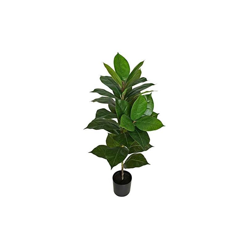 "silk flower arrangements besamenature 40"" artificial rubber tree plant - ficus tree - faux tropical tree for home office decoration, green"