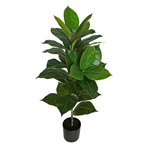 "BESAMENATURE 40"" Artificial Rubber Tree Plant - Ficus Tree - Faux Tropical Tree for Home Office Decoration, Green"