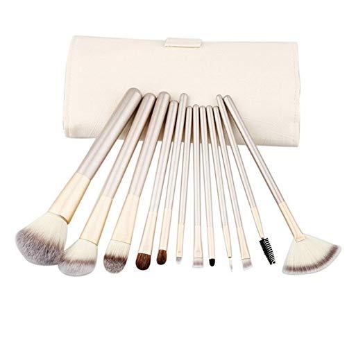 Roob muaj 12pcs Maquillage Professionnel Sets de Brosse, PU Maquillage en Cuir Beige Blending Brosse de Poche, Nylon Cheveux Voyage (Color : Beige)