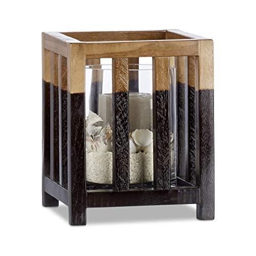 Relaxdays windlicht teakhout, maat M, cilindrische glazen vaas, tafeldecoratie voor grote kaarsen, kaarsenhouder 22 cm hoog zwart-bruin
