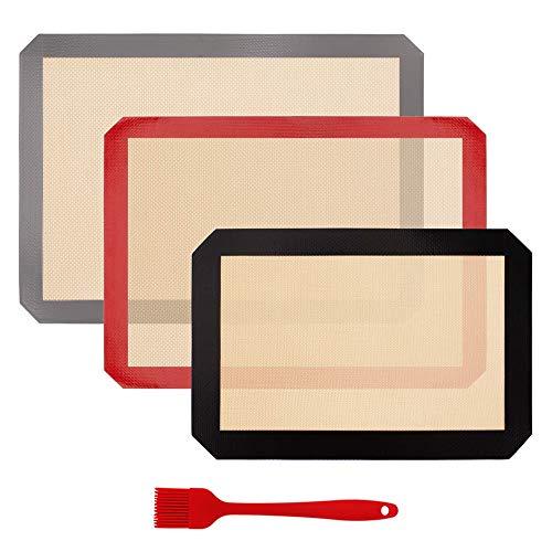 Paquete de alfombrillas de silicona para hornear (juego de 3 piezas) con cepillo de silicona para hornear, bandeja para hornear reutilizable, lavable y antideslizante, utensilios de cocina