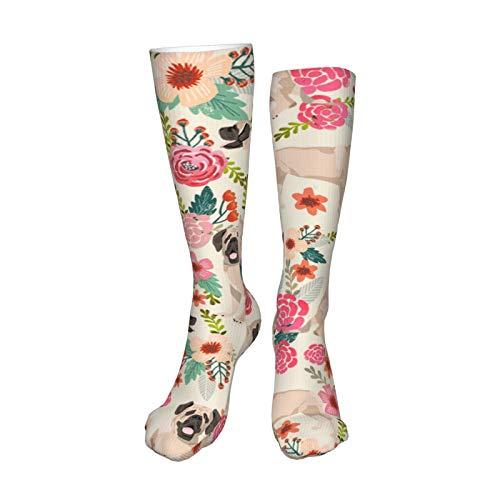 Calcetines largos de compresión con diseño de flores para perro, color c