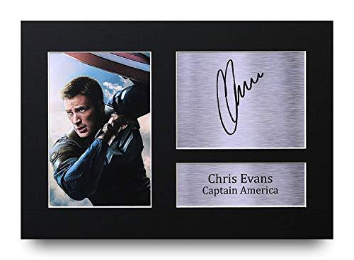 HWC Trading Chris Evans A4 Senza Cornice Firmato Regalo Visualizzazione delle Foto Print Immagine Autografo Stampato per Captain America The Avengers Gli Appassionati di Cinema
