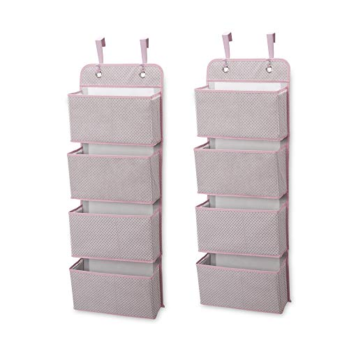 Delta Children 4 Pocket Over The Door Hanging Organizer - 2 Pack, Easy Storage/Organization Solution - Versatile and Accessible in Any Room in the House, Pink