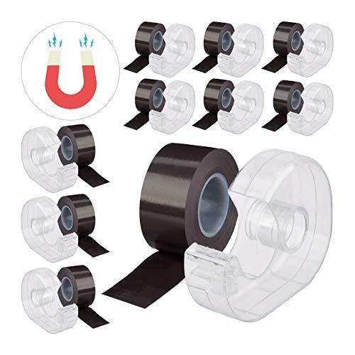 Relaxdays 10 x Magnetband 5m, mit Abroller, selbstklebendes Klebeband, Magnetstreifen, für Whiteboard & Kühlschrank, schwarz