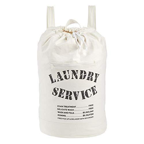 mDesign Cesta de ropa sucia – Práctico saco para ropa sucia con asas resistentes – Bolsa plegable de algodón con moderno estampado – crema/negro