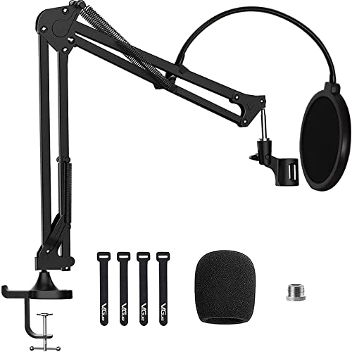 Microphone Boom Arm Stand, VeGue Adjustable Suspension Scissor Mic Stand with 3/8' to...