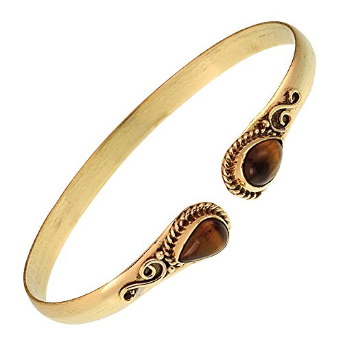 Chic-Net Messing Armreif golden Tigerauge Spirale Tropfen Flechtrand nickelfrei verstellbar antik Tribal