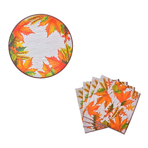Herbst Ernte/Thanksgiving Dekorative Papier Teller und Serviette Set Blätter