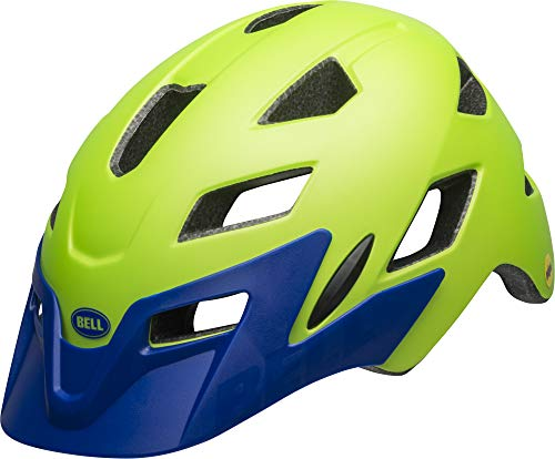 Bell Unisex Jugend SIDETRACK Youth Fahrradhelm, mat Bright Green/Blue, Unisize