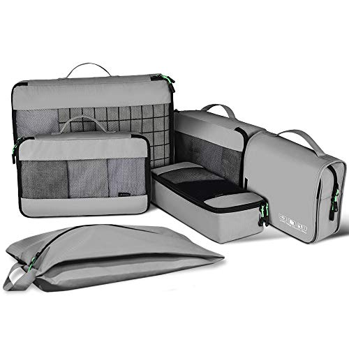 JESWO 6PCS Disinfected Packing Cubes Compression, Extensible Organisers Bag for Family & Indoor Luggage Organiser Set for Baby's Clothes, Grey