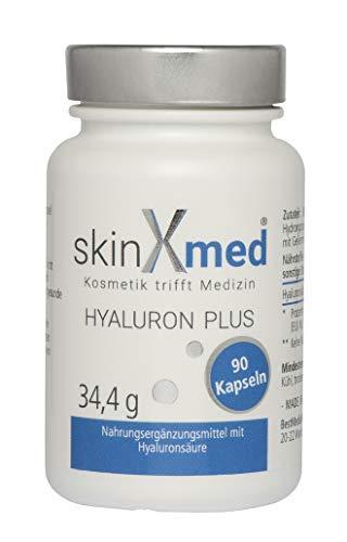SkinXmed Hyaluronsäure Kapseln | hochdosiert Hyaluron | Anti Aging Effekt | zur Hautpflege | Gelenkprobleme | 100% vegan | magensaftresistent | kombinierbar mit Creme oder Serum (90 Kapseln)