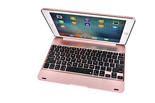 Keyboard Case For ipad 10.2/10.5 Wireless Bluetooth Keyboard Foldable Stand Case ABS Cover For iPad Air 1/2 9.7-Rose Gold_iPad 2017 2018 9.7