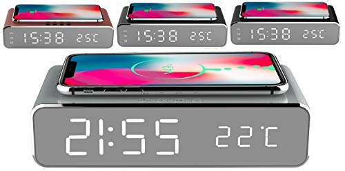 Uhrenwecker | Wireless Charger | Kabelloses Aufladen mit 10W | Alarmfunktion | Temperaturanzeige | Uhrzeit | Datum | Smartphone Uhren Wecker | Kabelloses Aufladen | Digitalwecker | (Star Silver)