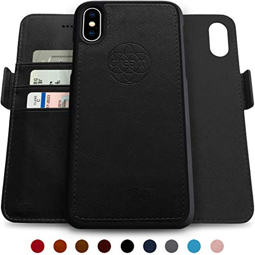 Dreem Fibonacci 2-in-1 Wallet-Case for iPhone Xs Max, Magnetic Detachable Shock-Proof TPU Slim-Case, RFID Protection, 2-Way Stand, Luxury Vegan Leather, Gift-Box - Black