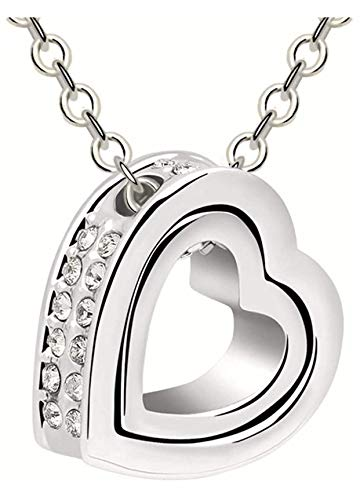 Quadiva C! Collana da donna – Collana con ciondolo a forma di cuore (colore: oro bianco) decorata con scintillanti cristalli Swarovski®
