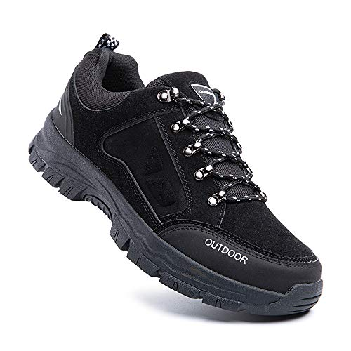 Hitmars Wanderhalbschuhe Herren Anti-Rutsch Sportlich Outdoor Trekking Sneaker Walkingschuhe 2-Schwarz EU44
