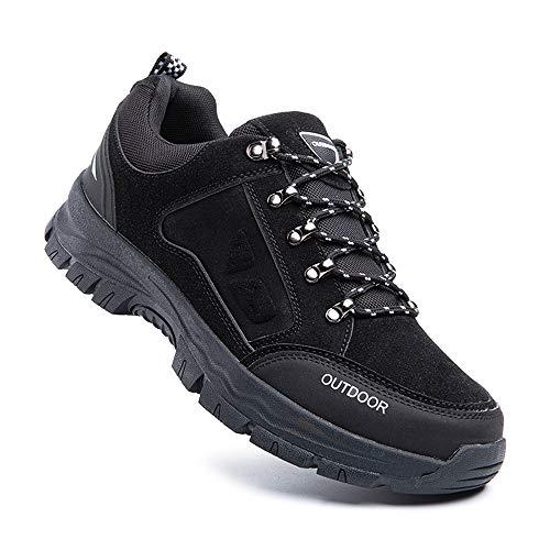 Zapatillas Trail Running Hombre Zapatos Senderismo Deporte Antideslizantes Cordones Ligero 2-Negro EU46