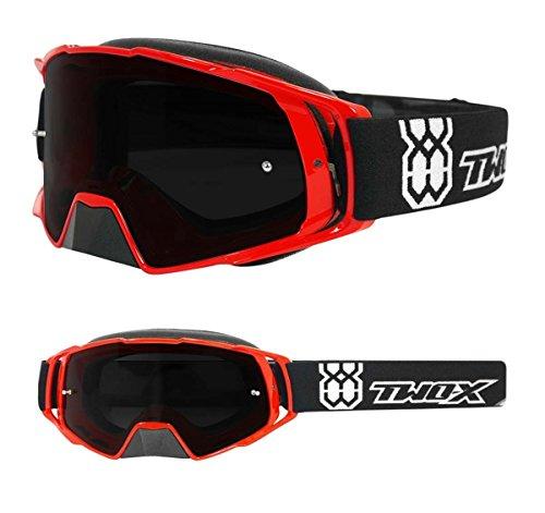 TWO-X Rocket Crossbrille rot Glas getönt grau MX Brille Nasenschutz Motocross Enduro Motorradbrille Anti Scratch MX Schutzbrille Nose Guard