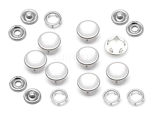CRAFTMEMORE 20 Sets 12mm Pearl Snaps Fasteners Pearl-Like Prong Snap Button for Western Shirt Clothes Popper Studs - Silver Brass Rim Setting (12 mm, Cloudy White)
