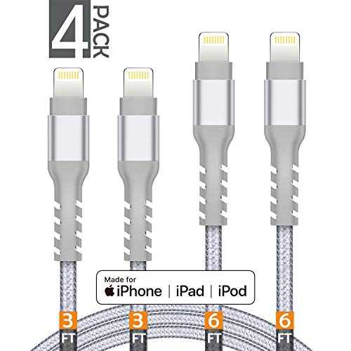 AHGEIIY MFi Certified Charger Cable Nylon Braided 5Pack[3.3/6.6/0.5FT] iPhone Lightning Cable Cord Compatible iPhone X,8 Plus,8,7 Plus,7,6 Plus,6,6S Plus,6s,5,iPad and More(Silver)
