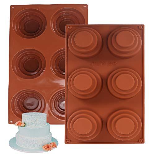 FOGAWA 6 cavidades mini 3 niveles pastel de silicona molde redondo molde DIY pudín molde decoración molde molde para hacer pastel pudín mousse
